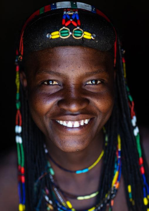 Smiling muhakaona tribe woman, Cunene Province, Oncocua, Angola