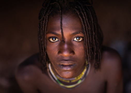 Batwa tribe young woman who will soon be married, Cunene Province, Oncocua, Angola