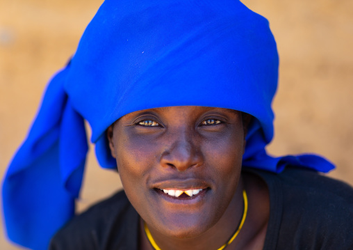 Cuepe tribe woman with sharpened teeth, Cunene Province, Curoca, Angola