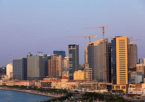 View over the new Marginal promenade called avenida 4 de fevereiro, Luanda Province, Luanda, Angola