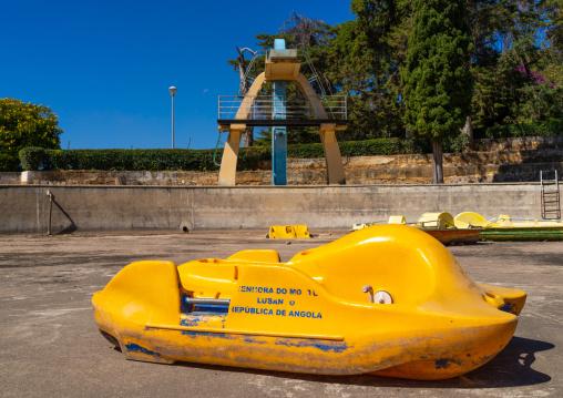 Paddle boat in front of the diving board in piscina da senhora do monte, Huila Province, Lubango, Angola