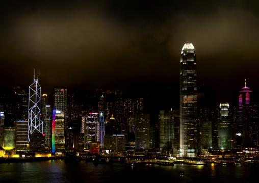 The Hong Kong Skyline At Night From Kowloon, China