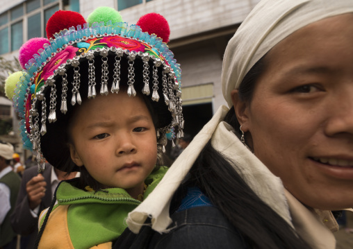 Kid In Traditional Costume During A Funeral Procession, Yuanyang, China