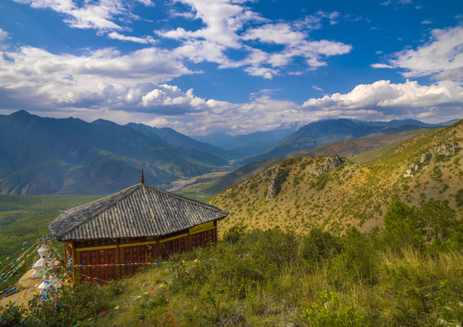 Temple Over A Valley, Lijiang Area, Yunnan Province, China