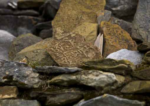 Carved Stones In Ringha Temple, Zhongdian, Yunnan Province, China