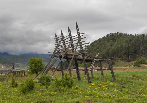 Pillars Woods For Harvests, Zhongdian , Yunnan Province, China