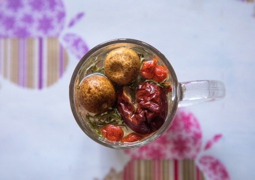 Tea with dry fruits made by Salar ethnic minority people, Qinghai province, Xunhua, China