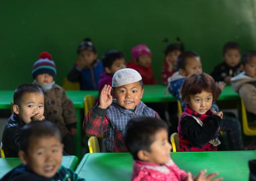 Salar ethnic minority children in a primary school, Qinghai province, Xunhua, China