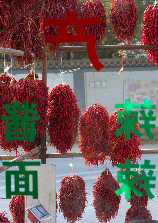 Red hot chillies are being dried up, Tongren County, Rebkong, China