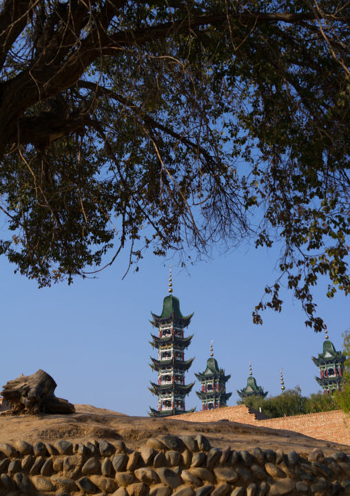 Chinese-style minaret of the Salar people grand mosque, Qinghai province, Xunhua, China