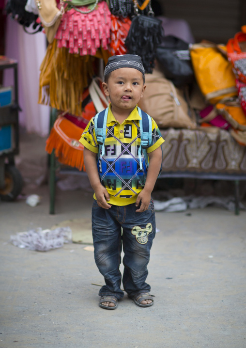 Young Kid in the street, Hotan, Xinjiang Uyghur Autonomous Region, China