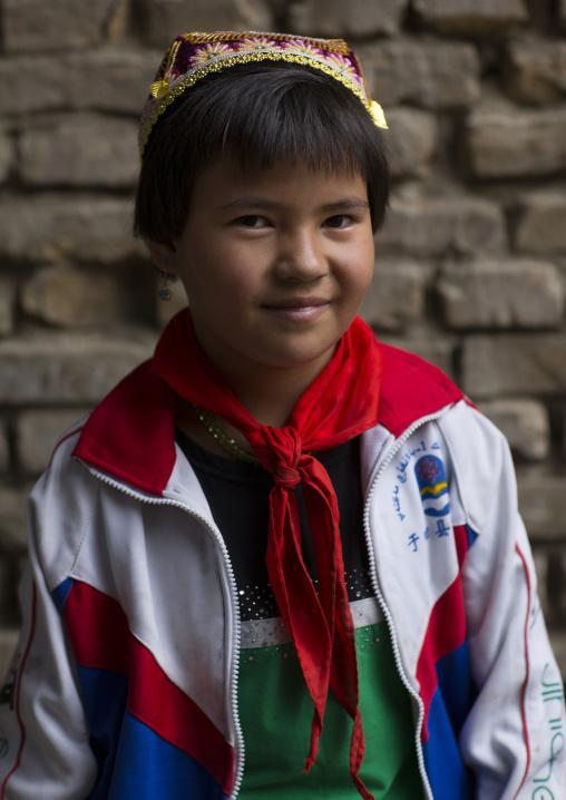 Young Uyghur Pioneer Girl, Keriya, Old Town, Keriya, Xinjiang Uyghur Autonomous Region, China