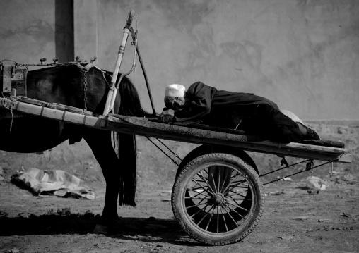 Old Uyghur Man Sleeping In His Cart, Serik Buya Market, Yarkand, Xinjiang Uyghur Autonomous Region, China
