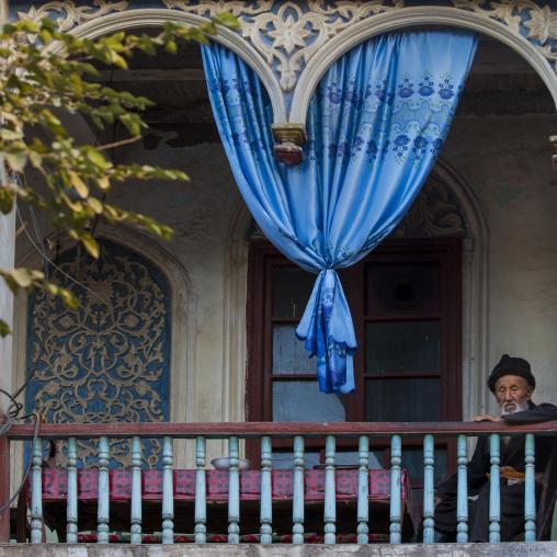 Ostangboyi Tea House balcony, Kashgar, Xinjiang Uyghur Autonomous Region, China
