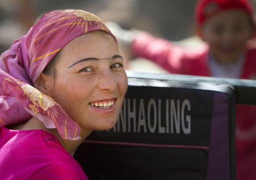 smiling Uyghur Woman, Opal Village Market, Xinjiang Uyghur Autonomous Region, China