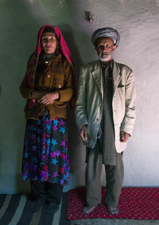 Afghan couple inside their house, Badakhshan province, Wuzed, Afghanistan