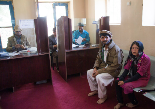 People waiting in the tourism office, Badakhshan province, Ishkashim, Afghanistan