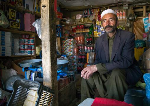 Afghan shop owner in the market, Badakhshan province, Ishkashim, Afghanistan