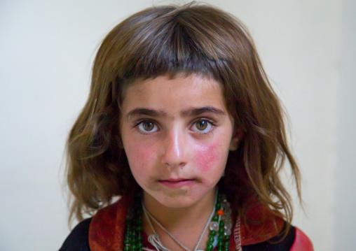 Portrait of an afghan girl with red cheecks, Badakhshan province, Khandood, Afghanistan