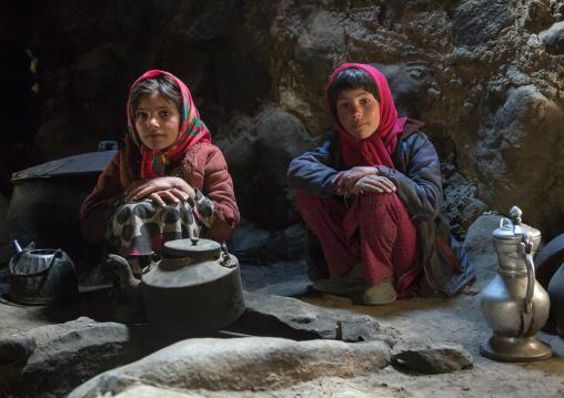 Wakhi girls inside their house in the pamir mountains, Big pamir, Wakhan, Afghanistan