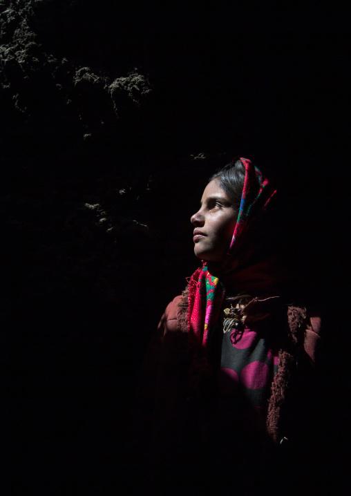 Wakhi nomad girl inside her house, Big pamir, Wakhan, Afghanistan