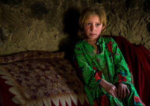 Wakhi nomad girl with blonde hair, Big pamir, Wakhan, Afghanistan