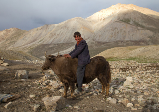 Wakhi teenage boy riding a yak, Big pamir, Wakhan, Afghanistan