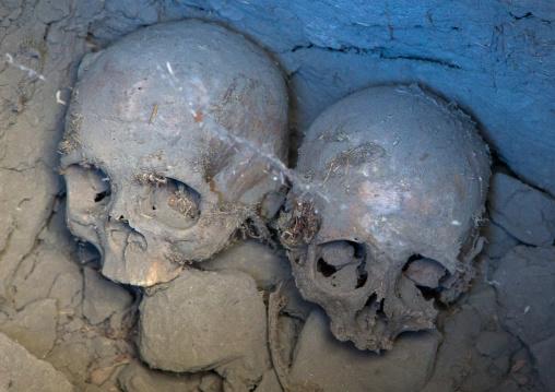 Human skulls iside an old muslim shrine, Badakhshan province, Khandood, Afghanistan