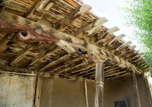 Roof detail of a traditional house, Badakhshan province, Zebak, Afghanistan