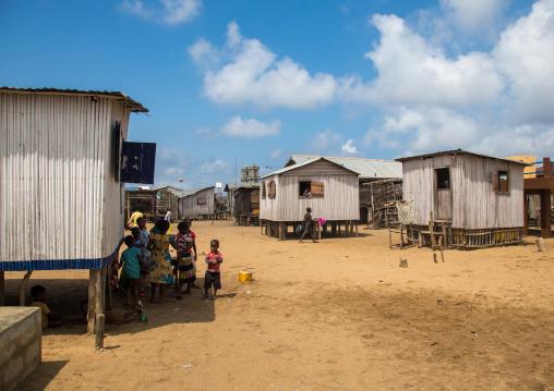 Benin, West Africa, Ganvié, stilt houses on dry land on the banks of lake nokoue