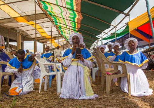 Benin, West Africa, Ganvié, celestial church of christ women praying
