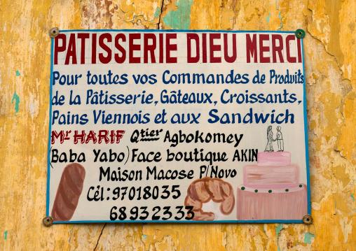 Benin, West Africa, Porto-Novo, bakery sign on a wall
