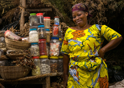 Benin, West Africa, Porto-Novo, woman in the herbal market