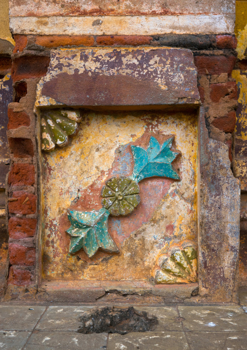 Benin, West Africa, Porto-Novo, detail of the multicoloured great mosque