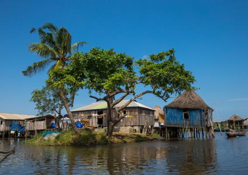 Benin, West Africa, Ganvié, stilt house on lake nokoue
