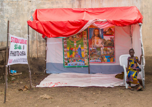 Benin, West Africa, Ganvié, photo studio during a christian festival