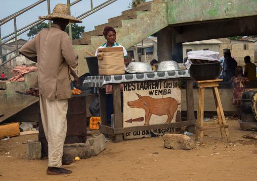 Benin, West Africa, Ganvié, pork restaurant in the street