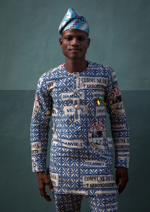 Benin, West Africa, Ganvié, fashionable young man in traditional beninese clothing