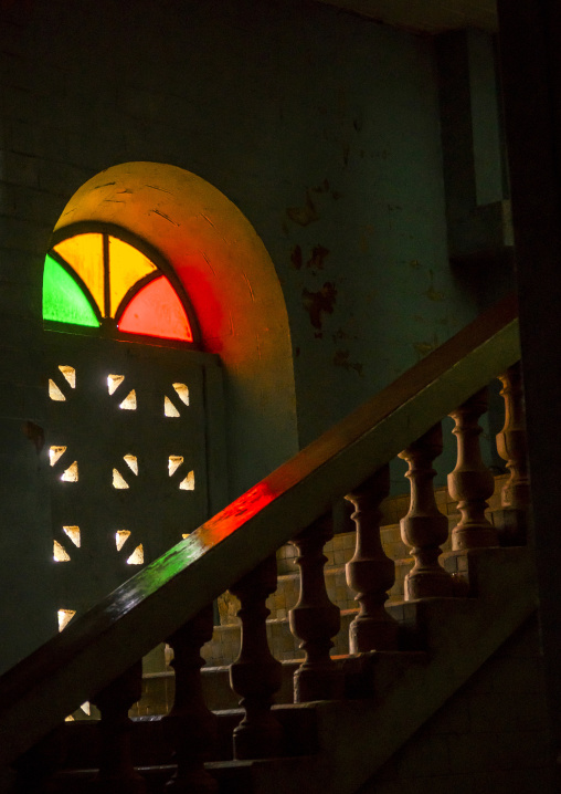Benin, West Africa, Porto-Novo, stairs and stain glass window inside the great mosque