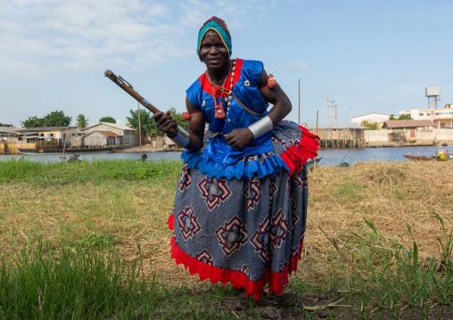 Benin, West Africa, Ganvié, traditional dancer during a ceremony