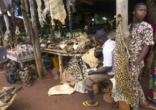 Benin, West Africa, Bonhicon, a voodoo market with many cut heads and parts of dead animal