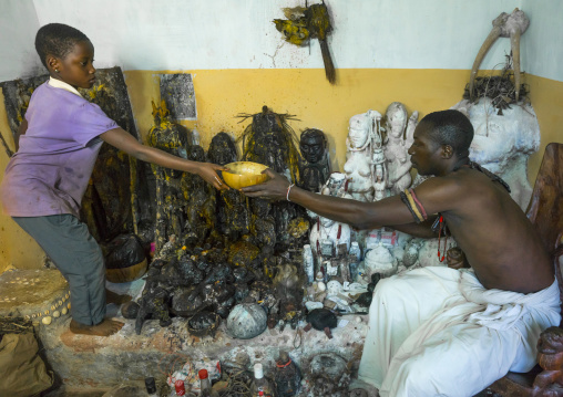 Benin, West Africa, Bonhicon, kagbanon bebe voodoo priest assisted by a virgin girl during a ceremony