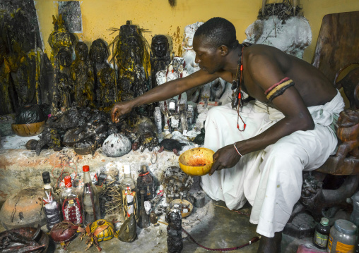 Benin, West Africa, Bonhicon, kagbanon bebe voodoo priest putting some oil on his fetish during a ceremony
