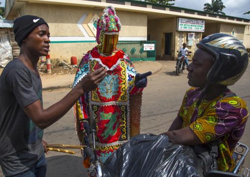 Benin, West Africa, Porto-Novo, egoun egoun spirit of the deads asking money to people