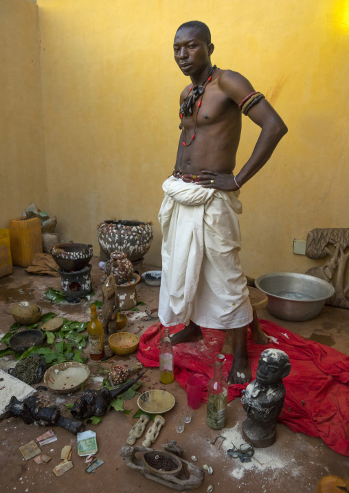 Benin, West Africa, Bonhicon, kagbanon bebe voodoo priest at the end of the ceremony
