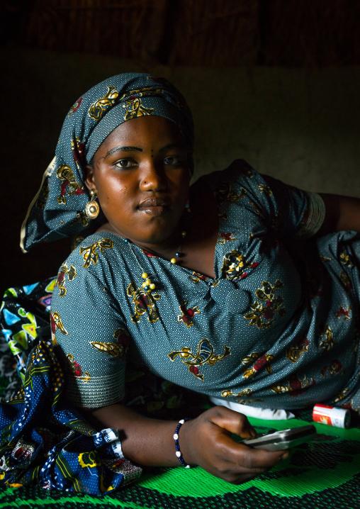 Benin, West Africa, Taneka-Koko, fulani peul tribe bride inside her hut