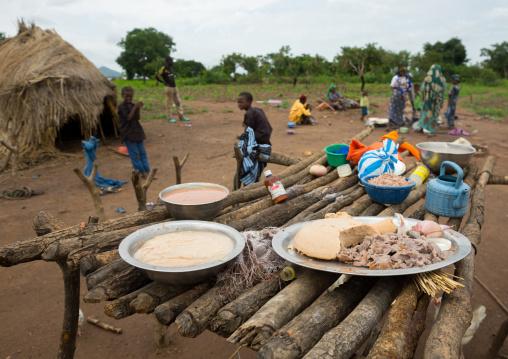 Benin, West Africa, Taneka-Koko, fulani peul tribe women preparing food for a wedding