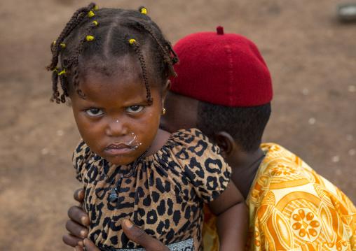 Benin, West Africa, Taneka-Koko, a fulani peul tribe girl with her father