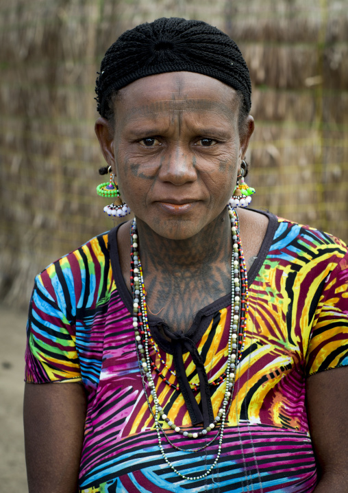 Benin, West Africa, Gossoue, a tattooed fulani peul tribe woman portrait