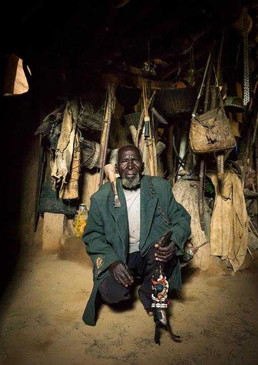 Benin, West Africa, Boukoumbé, mr kouagou maxon in his tata somba house and his traditional medicine